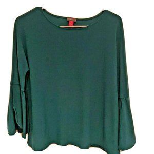 Vince Camuto Emerald Green Bell Sleeve Blouse Sz S